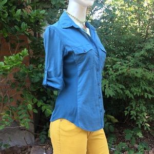 James Perse Contrast Panel Blue Green Blouse Top
